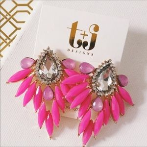 New Pink Feather Design Statement Earrings